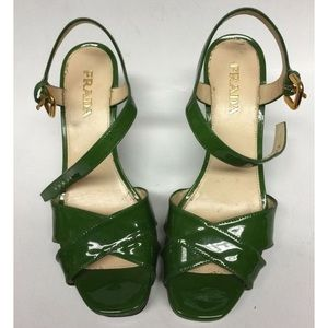Prada patent leather kelly green wedges, size 6.5